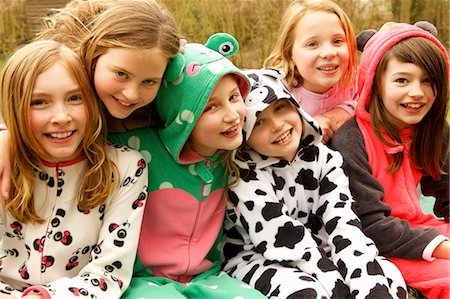 Group of Smiling Girls Wearing Animal Costumes Stock Photo - Rights-Managed, Code: 822-07117575