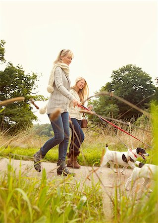 daughter middle-aged mother women young adults - Mother and Daughter Walking Dogs Stock Photo - Rights-Managed, Code: 822-07355445