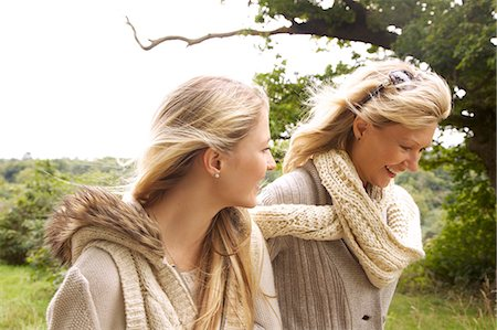 daughter middle-aged mother women young adults - Mother and Daughter Walking in Countryside Stock Photo - Rights-Managed, Code: 822-07355453
