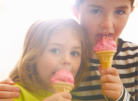 Boy and Girl Eating Ice Cream Stock Photo - Rights-Managed, Code: 822-07355474
