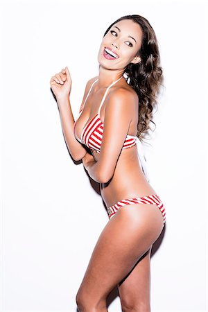 Woman Wearing Red and White Bikini Stock Photo - Rights-Managed, Code: 822-07355482