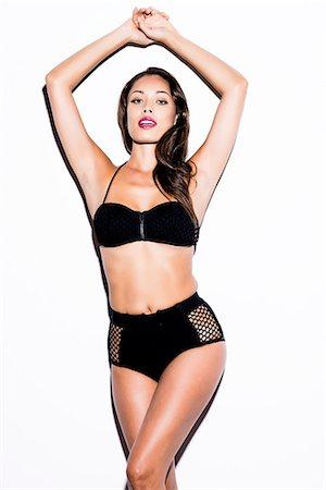 sexy black women in bikinis - Woman Wearing Black Bikini Stock Photo - Rights-Managed, Code: 822-07355490