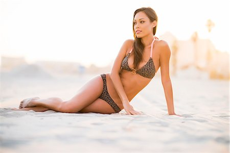 sexi women full body - Woman on Beach Sitting on Sand Stock Photo - Rights-Managed, Code: 822-07355500