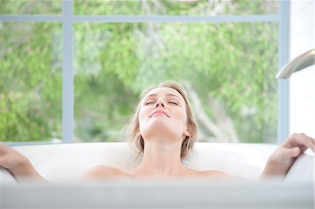 personal care - Woman Relaxing in Bathtub Stock Photo - Rights-Managed, Code: 822-07562674