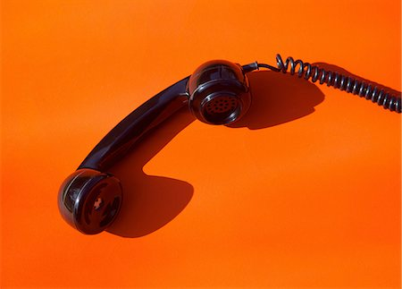 phone cord - Telephone Handset on Orange Background Stock Photo - Rights-Managed, Code: 822-07562683