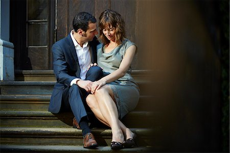Couple Sitting on Steps Outdoors Stock Photo - Rights-Managed, Code: 822-07708553