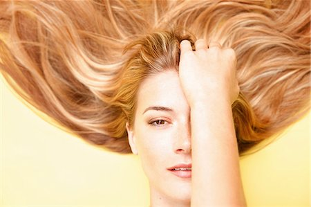 Close up of Woman with Long Hair, Elevated View Stock Photo - Rights-Managed, Code: 822-07840915