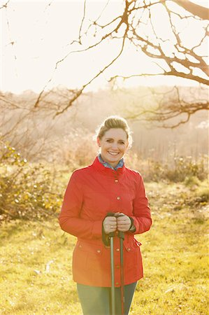 Portrait of Woman Holding Hiking Poles Stock Photo - Rights-Managed, Code: 822-08026302