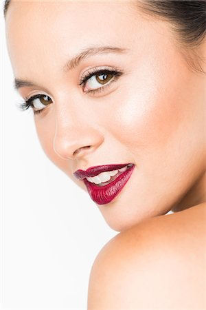 Close up of Young Woman with Dark red Lips Stock Photo - Rights-Managed, Code: 822-08122427