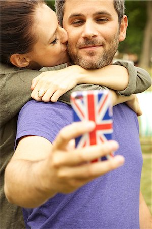 relationship - Couple Taking Selfie Outdoors Stock Photo - Rights-Managed, Code: 822-08122583