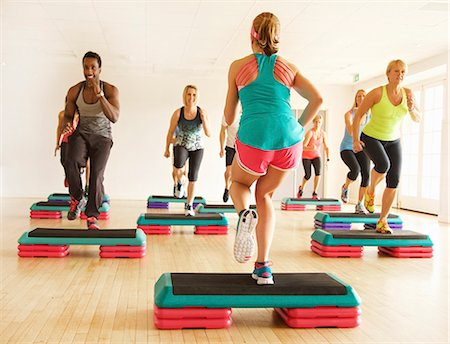 Group of People at Step Aerobics Class Stock Photo - Rights-Managed, Code: 822-08122602