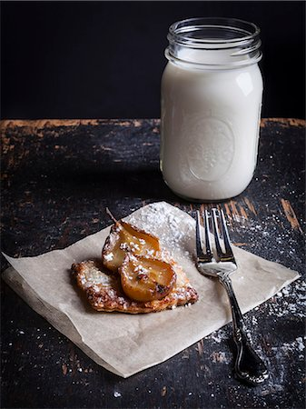 rustic - Pastry Tart with Pears and Jar with Milk Stock Photo - Rights-Managed, Code: 822-08630484