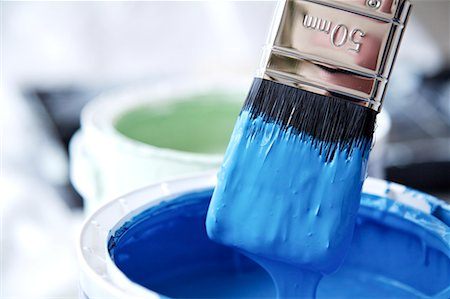 paint drips - Close up of blue paint pot and dripping paintbrush Stock Photo - Rights-Managed, Code: 822-02124104