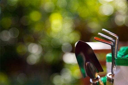 Gardening rake and trowel in tool bag Stock Photo - Rights-Managed, Code: 822-02124121