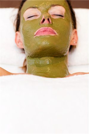 facial - Woman with green facial mask Stock Photo - Rights-Managed, Code: 822-02958425
