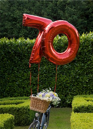 Red inflatable balloon in the shape of the number seventy attached to a bycycle parked in a garden Stock Photo - Rights-Managed, Code: 822-02958486