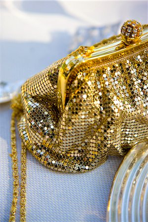 Gold chain mail handbag with rhinestone ball clasp Stock Photo - Rights-Managed, Code: 822-03161871