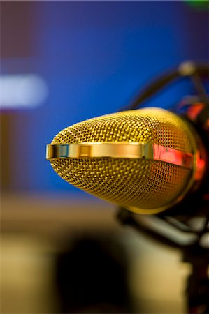Extreme close up of a gold microphone Stock Photo - Rights-Managed, Code: 822-03162044