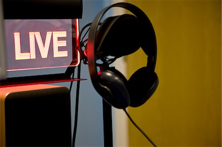 Microphone and headphones with an illuminated sign Stock Photo - Rights-Managed, Code: 822-03162045