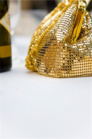 Detail of a gold chain mail handbag Stock Photo - Rights-Managed, Code: 822-03162066
