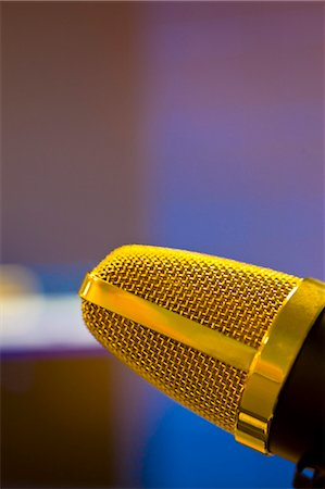 Extreme close up of a gold microphone Stock Photo - Rights-Managed, Code: 822-03162114