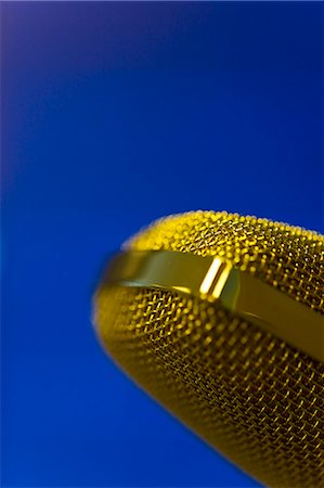 Extreme close up of a gold microphone Stock Photo - Rights-Managed, Code: 822-03162116