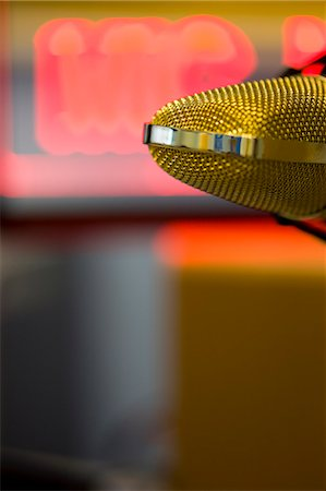 Extreme close up of a gold microphone Stock Photo - Rights-Managed, Code: 822-03162117