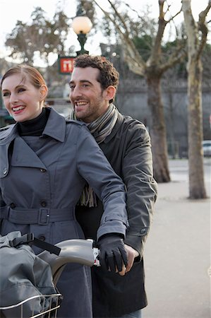 renting - Close up of a couple on a Velib Stock Photo - Rights-Managed, Code: 822-03485226