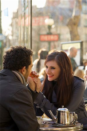 Young couple at cafe, Paris, France Stock Photo - Rights-Managed, Code: 822-03485237