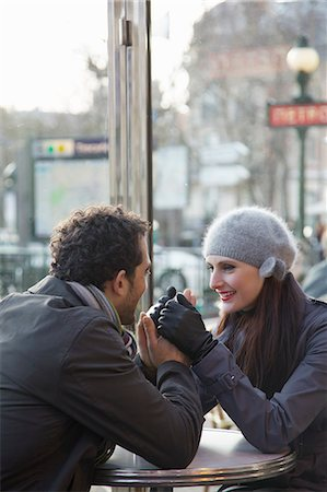 Young couple at cafe, Paris, France Stock Photo - Rights-Managed, Code: 822-03485238