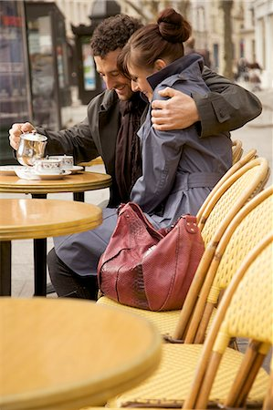 Young couple at outdoor cafe, Paris, France Stock Photo - Rights-Managed, Code: 822-03485341