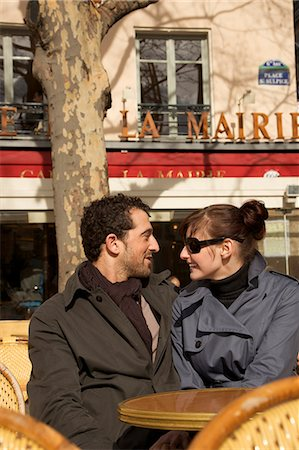 Young couple at outdoor cafe, Paris, France Stock Photo - Rights-Managed, Code: 822-03485364