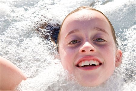 preteen girls bath - Girl in Hot Tub Stock Photo - Rights-Managed, Code: 822-03601983