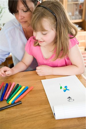 supervising - Mother and daughter Drawing Stock Photo - Rights-Managed, Code: 822-03602055