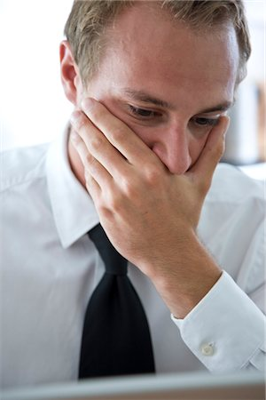 person overwhelmed stresss - Close up of Businessman with Hand Covering Mouth Stock Photo - Rights-Managed, Code: 822-03602051