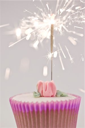 sparks with white background - Sparkler on a Cupcake Stock Photo - Rights-Managed, Code: 822-03780663