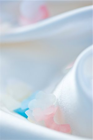 silky - Pastel Coloured Confetti on White Silk Stock Photo - Rights-Managed, Code: 822-03780792