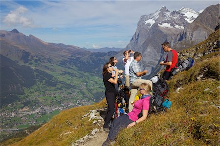 Group of Hikers Taking a Break on Eiger Trail Stock Photo - Rights-Managed, Code: 822-03780821
