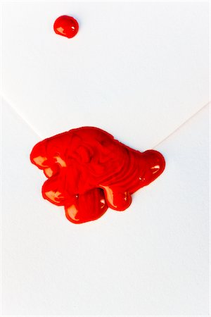 stamp (imprinted mark) - Red Sealing Wax on White Envelope Stock Photo - Rights-Managed, Code: 822-03780936