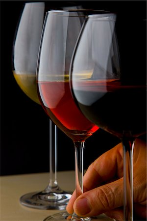 Glasses of White, Red and Rose Wines Stock Photo - Rights-Managed, Code: 822-03780953