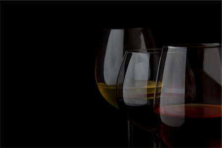 Glasses of White, Red and Rose Wines Stock Photo - Rights-Managed, Code: 822-03780988