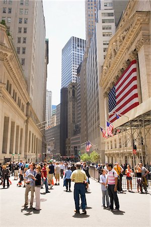 stock exchange building - Group of people standing on the street, Wall Street, Manhattan, New York City, New York State, USA Stock Photo - Rights-Managed, Code: 837-02379986