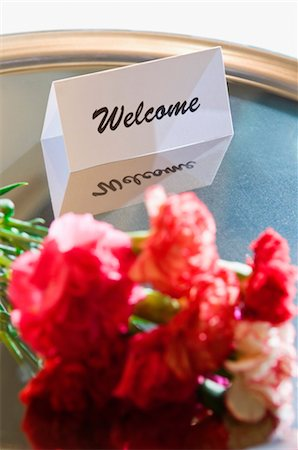 flower greeting - Close-up of flowers with a welcome note in a plate Stock Photo - Rights-Managed, Code: 837-02380624