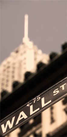 stock exchange building - Low angle view of an information sign, Wall Street, Manhattan, New York City, New York State, USA Stock Photo - Rights-Managed, Code: 837-02381290