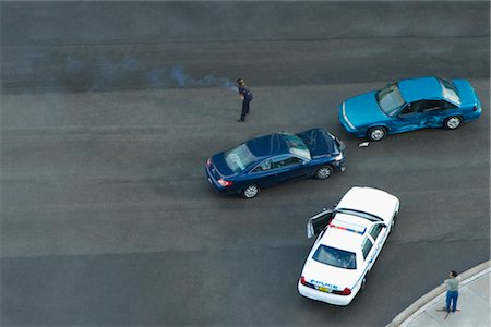 dangerous accident - High angle view of a car accident on a highway, John F. Kennedy Causeway, Miami, Florida, USA Stock Photo - Rights-Managed, Code: 837-02381766