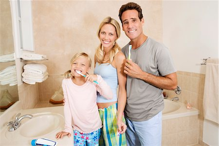 Family brushing teeth in the bathroom Stock Photo - Rights-Managed, Code: 837-03070079