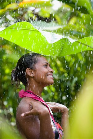Close-up of a woman enjoying rain shower Stock Photo - Rights-Managed, Code: 837-03070727