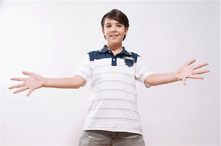 preteens fingering - Portrait of a boy showing his palm out Stock Photo - Rights-Managed, Code: 837-03072322