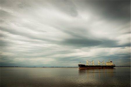 ships at sea - Brazil, Cargo ship in Guaiba River; Porto Alegre Stock Photo - Rights-Managed, Code: 832-08007648