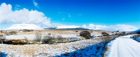 panoramic winter scene - Rural Roads, Co Donegal, Mount Errigal & Muckish Mtn Stock Photo - Rights-Managed, Code: 832-02254183